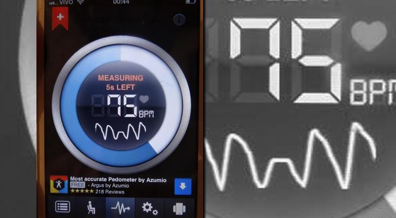 Medidor de batimentos cardiacos no celular